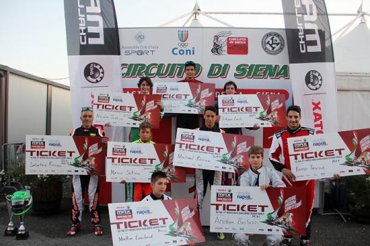 I vincitori del Trofeo Rotax Italia nella finale del Circuito di Siena