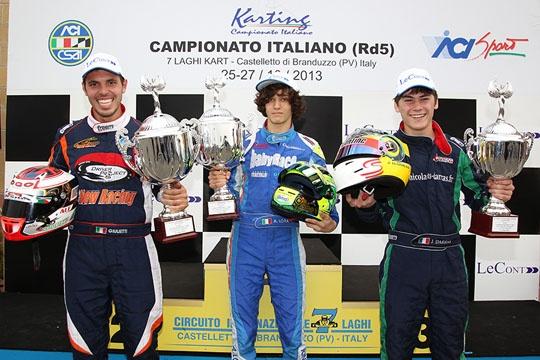Giulietti (KZ2), Darras (KF2) e Alessio Lorandi (KF3) vincono il Campionato Italiano nella finale di Castelletto