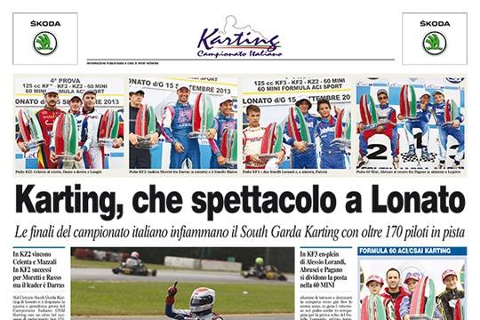 Sul Corriere dello Sport venerdì 20 settembre pagina speciale sul Campionato Italiano CSAI Karting a Lonato