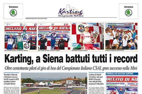Sul Corriere dello Sport di giovedì 1 agosto pagina speciale sul Campionato Italiano CSAI Karting a Siena