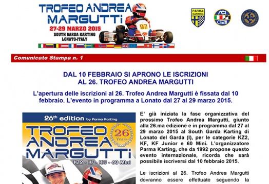 Dal 10 Febbraio si aprono le iscrizioni al XXVI Trofeo Andrea Margutti
