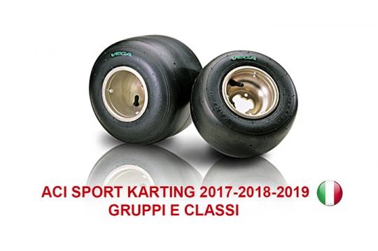 I Gruppi e le Classi Karting con i pneumatici Vega per gli anni 2017-2019