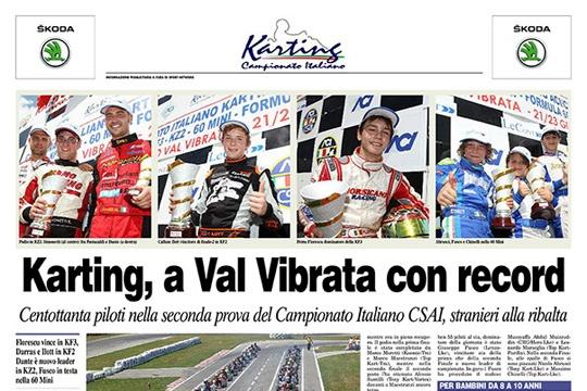 SUL CORRIERE DELLO SPORT PAGINA SPECIALE KARTING SULLA GARA DEL CAMPIONATO ITALIANO A VAL VIBRATA